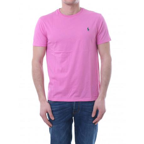 T-shirt col rond Ralph Lauren rose logo vert coupe droite pour homme