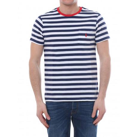 T-shirt col rond Ralph Lauren rayé bleu marine et blanc logo rouge pour homme