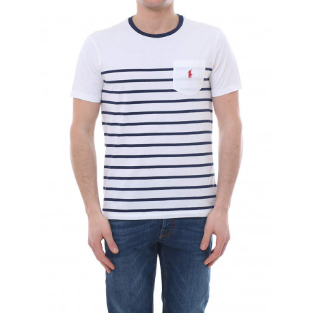 T-shirt col rond Ralph Lauren blanc à rayures bleu marine logo rouge pour homme