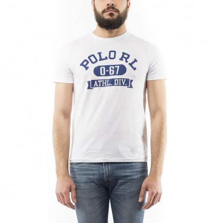 T-shirt col rond Ralph Lauren blanc inscription POLO bleu coupe droite pour homme