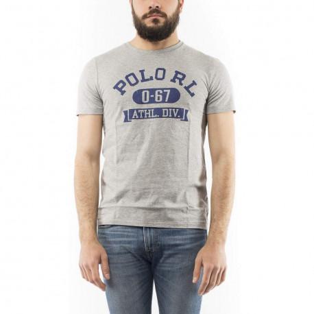 T-shirt col rond Ralph Lauren gris inscription POLO bleu coupe droite pour homme