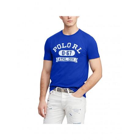 T-shirt col rond Ralph Lauren bleu roi inscription POLO blanc coupe droite pour homme