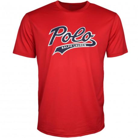 T-shirt col rond Ralph Lauren rouge inscription POLO noire coupe droite pour homme