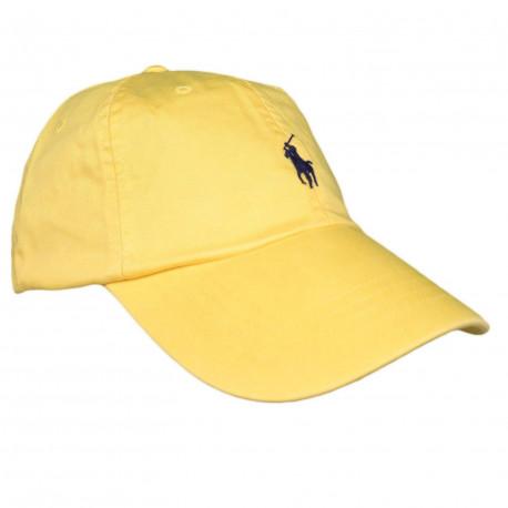 Casquette Ralph Lauren jaune logo noir mixte