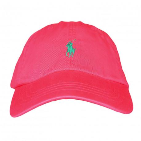 Casquette Ralph Lauren rouge orangé logo vert pour mixte