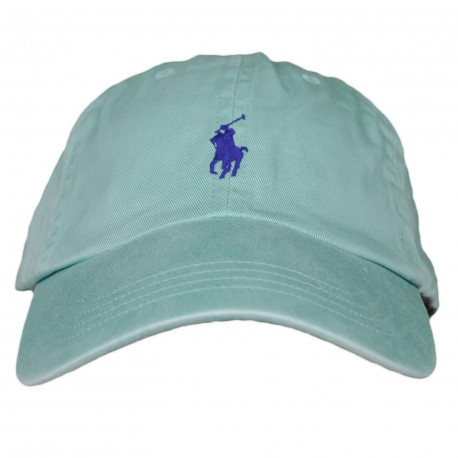 Casquette Ralph Lauren verte logo bleu marine mixte