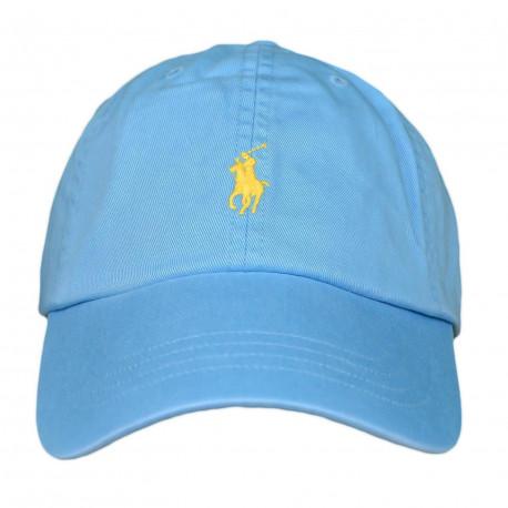 Casquette Ralph Lauren bleu turquoise logo jaune mixte