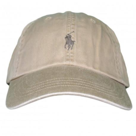 Casquette Ralph Lauren beige logo marron mixte