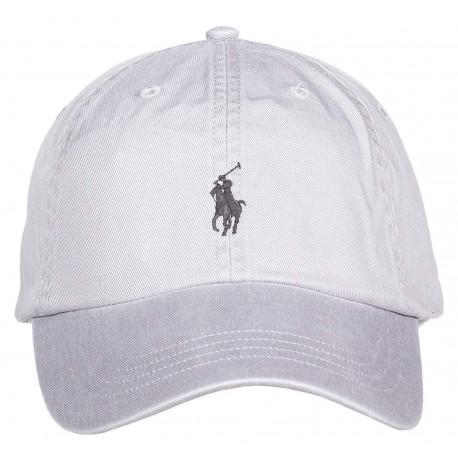 Casquette Ralph Lauren grise logo noir mixte
