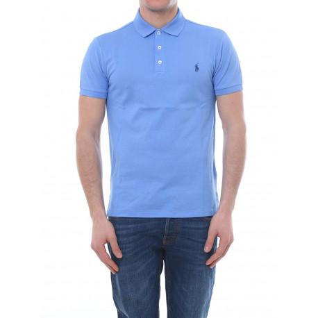 Polo basique Ralph Lauren bleu clair logo bleu foncé en piqué slim fit stretch pour homme