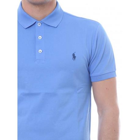 Chemise Ralph Lauren blanche logo bleu marine en sergé slim fit pour homme