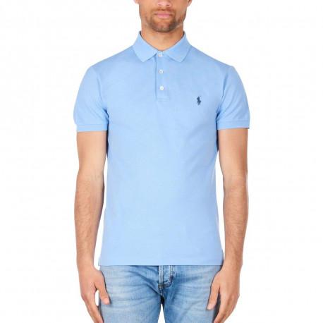 Polo basique Ralph Lauren bleu ciel logo bleu foncé en piqué slim fit stretch pour homme
