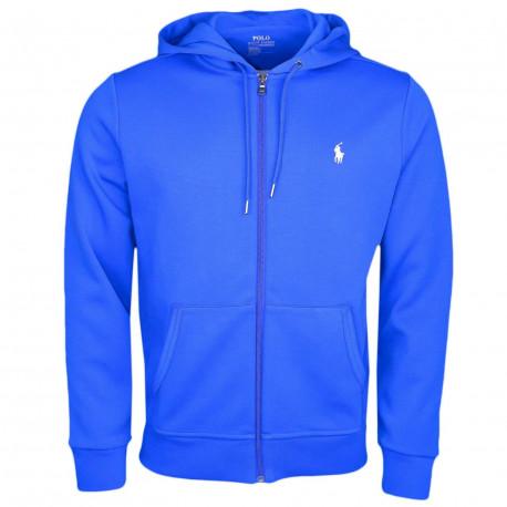 Veste sweat Ralph Lauren bleu roi logo blanc pour homme