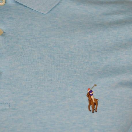 Chemise Ralph Lauren bleu et blanche à rayures logo rose slim fit en popeline stretch pour homme