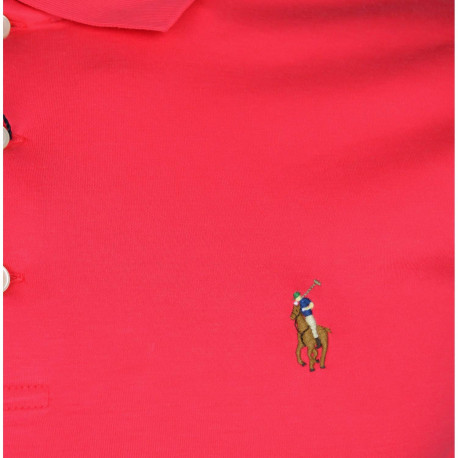 T-shirt col rond Ralph Lauren rouge à logo POLO en polyester ajusté pour homme