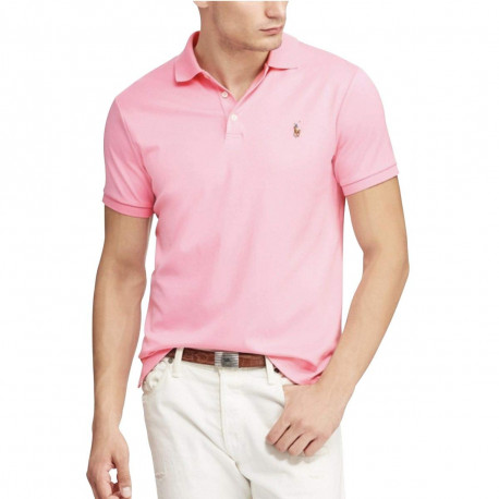 Polo Ralph Lauren rose logo multicolore en jersey slim fit pour homme