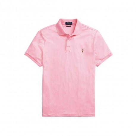 Polo Ralph Lauren rouge logo multicolore en jersey doux slim fit pour homme