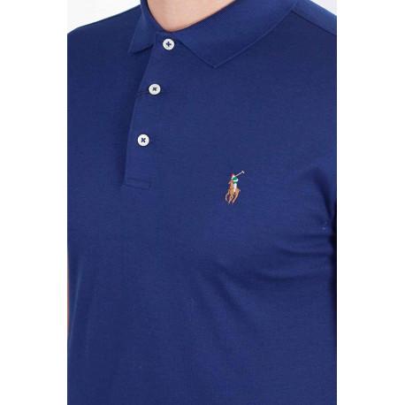 Polo Ralph Lauren bleu turquoise logo multicolore en jersey slim fit pour homme