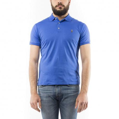Polo Ralph Lauren bleu roi logo multicolore en jersey slim fit pour homme