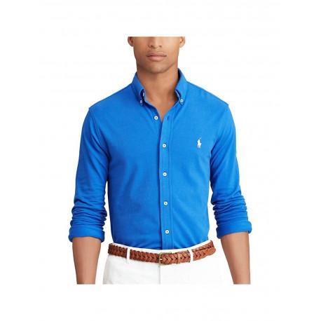 Chemise Ralph Lauren bleu France logo blanc en piqué pour homme