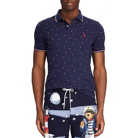 Polo Ralph Lauren bleu marine logo rouge imprimé étoile coupe droite pour homme