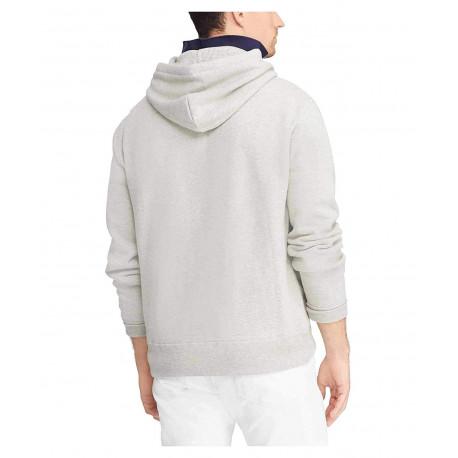 T-shirt col rond Ralph Lauren blanc logo rouge à rayures bleu marine ajusté pour homme