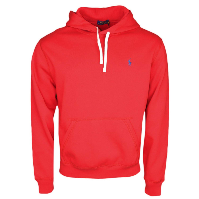 Sweat à capuche Ralph Lauren rouge logo bleu marine en
