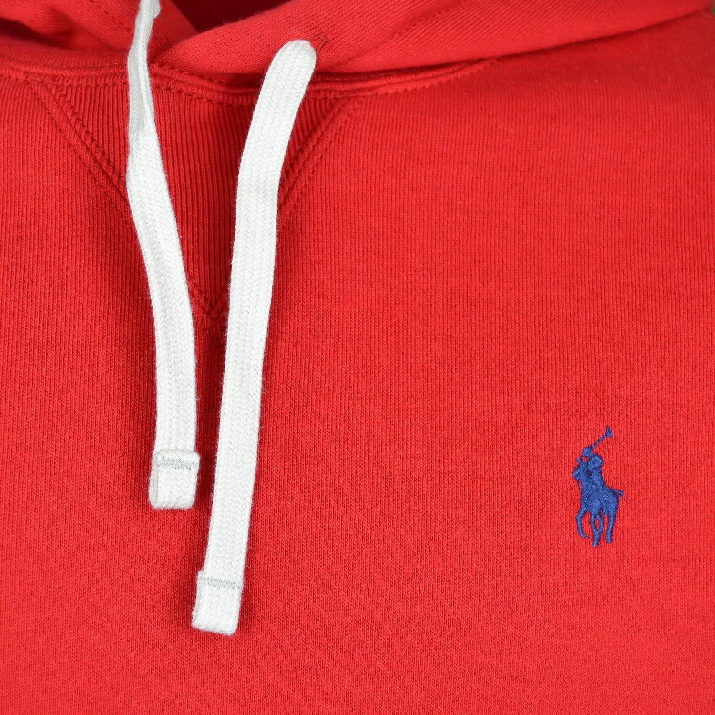 Sweat à capuche Ralph Lauren rouge logo bleu marine en molleton pou