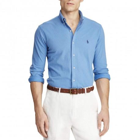 Chemise Ralph Lauren bleu imprimé pois blanc logo bleu marine en piqué pour homme