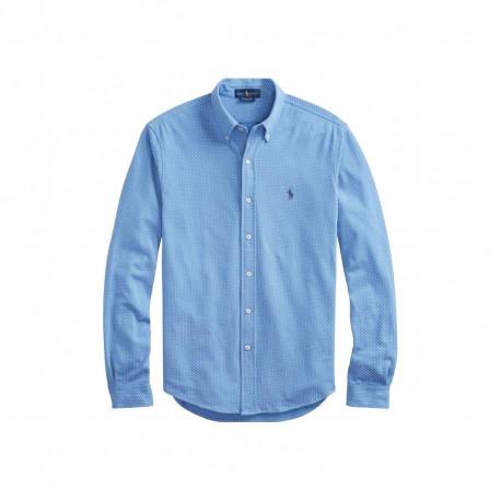 T-shirt col rond Ralph Lauren bleu logo jaune ajusté pour homme