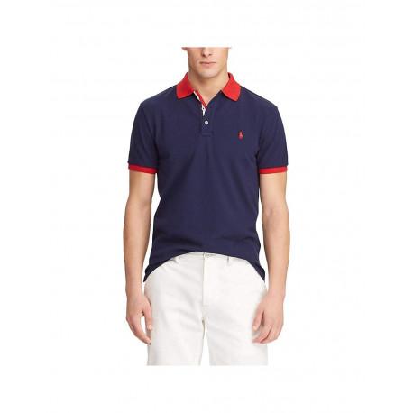 Polo Ralph Lauren bleu marine logo et col rouge en piqué slim fit pour homme