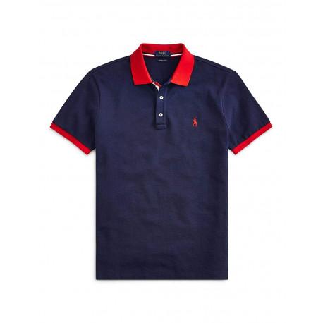 T-shirt col rond Ralph Lauren rose logo vert ajusté pour homme
