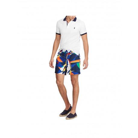 Polo Ralph Lauren blanc col et logo bleu marine en piqué pour homme
