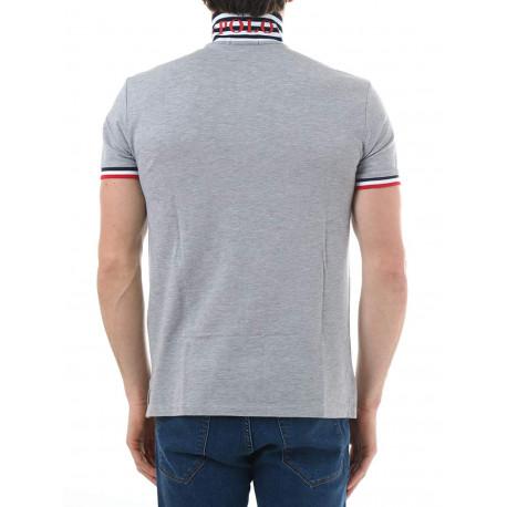 Polo Ralph Lauren bleu roi logo multicolore slim fit en jersey pour homme