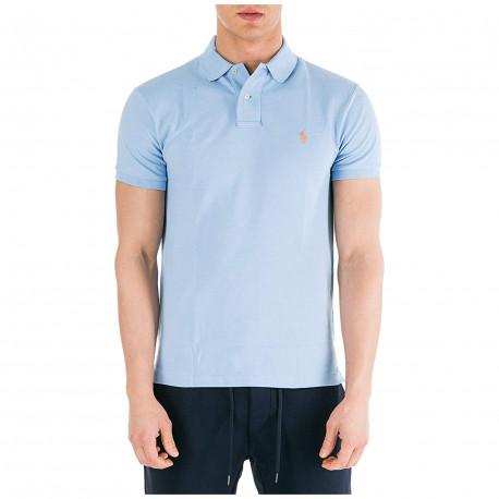Polo Ralph Lauren bleu ciel logo orange slim fit en piqué pour homme