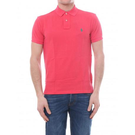 Polo Ralph Lauren rouge logo vert slim fit pour homme