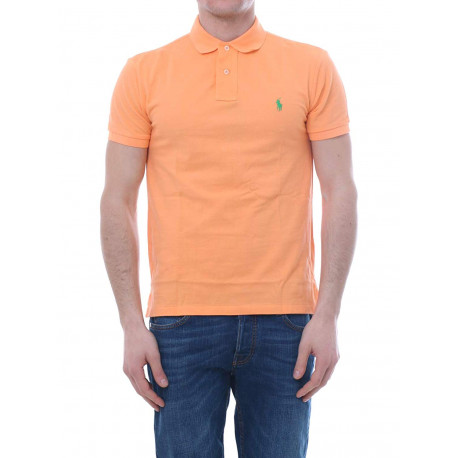 Polo Ralph Lauren orange logo vert slim fit pour homme