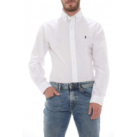 Chemise Ralph Lauren blanche logo bleu marine classique slim fit pour homme