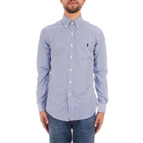 Chemise Ralph Lauren bleu et blanche logo noir à rayures slim fit pour homme