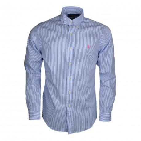 Chemise Ralph Lauren bleu et blanche logo rose à rayures slim fit pour homme