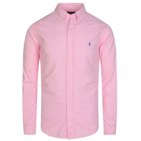 Chemise oxford Ralph Lauren rose logo bleu slim fit pour homme