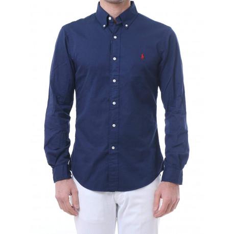 Chemise Ralph Lauren bleu marine logo rouge slim fit pour homme