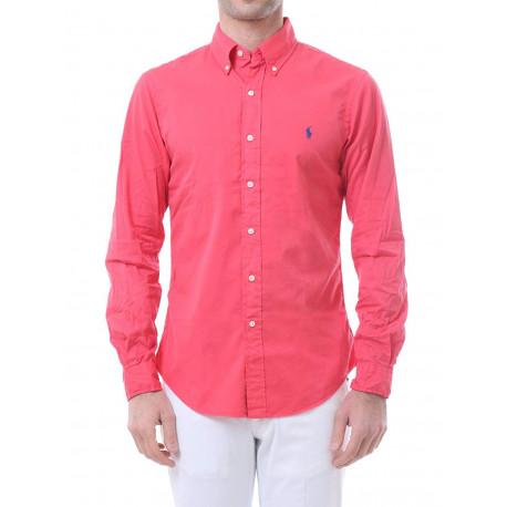 Chemise Ralph Lauren rouge logo bleu marine slim fit pour homme