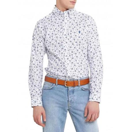 Chemise Ralph Lauren blanche imprimé voilier logo bleu slim fit pour homme