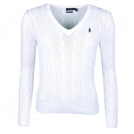 Pull col V Ralph Lauren blanc logo noir torsadé pour femme