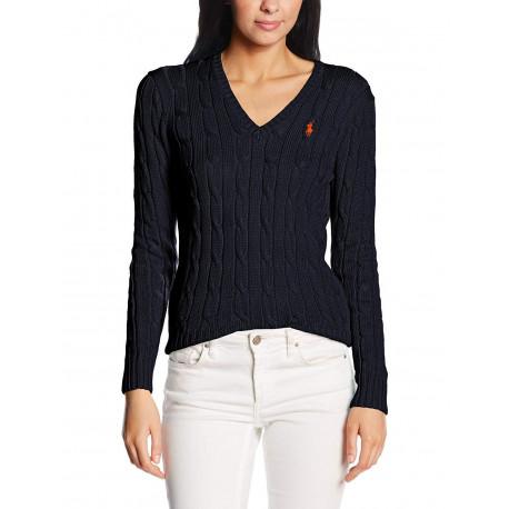 Pull col V Ralph Lauren bleu marine logo rouge torsadé pour femme