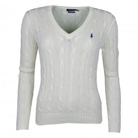 Pull col V Ralph Lauren beige logo bleu marine torsadé pour femme
