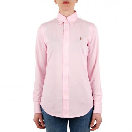Chemise Ralph Lauren rose logo multicolore en piqué pour femme