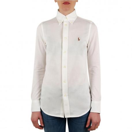 Chemise Ralph Lauren blanche logo multicolore en piqué pour homme