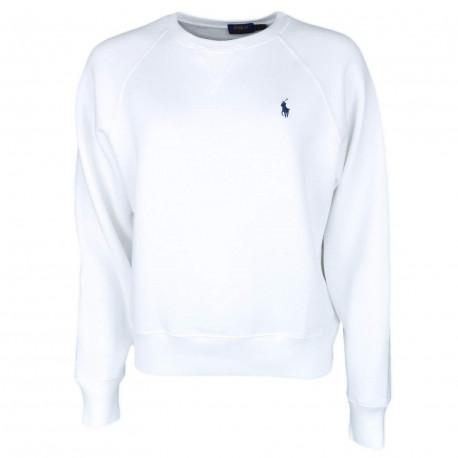 Sweat col rond Ralph Lauren blanc logo bleu marine pour femme